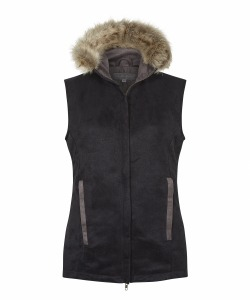 Annabel Brocks Quilted black Gilet With Natural Collar f